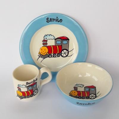 Hrnček, miska a tanier - vláčik