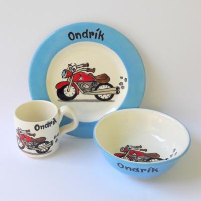 Hrnček, miska a tanier - motorka