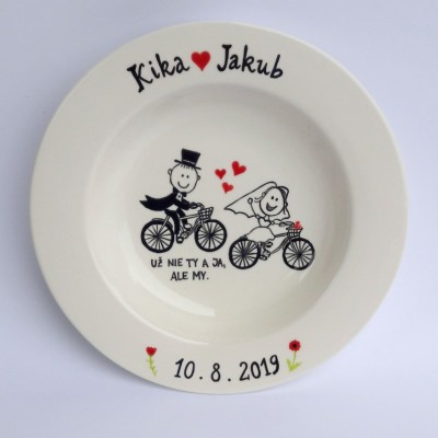 Svadobný tanier - na bicykli