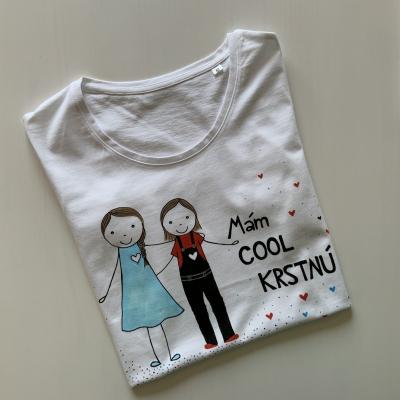 Originálne maľované tričko pre dievča, ktoré má COOL krstnú