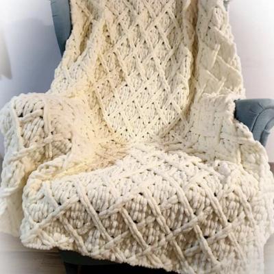 Ručne pletena deka -maslová