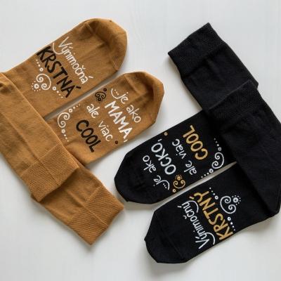 Maľované čierne + horčicové ponožky pre KRSTNÚ a KRSTNÉHO, ktorí sú výnimoční a COOL
