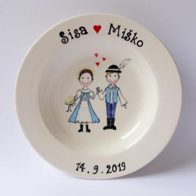 Svadobný tanier - ľudový motív