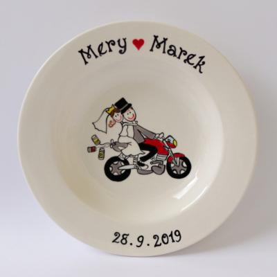 Svadobný tanier - na motorke