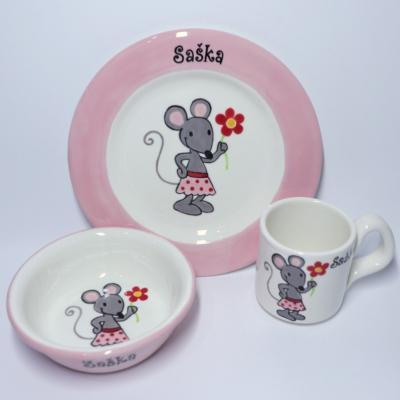 Hrnček, miska a tanier - myška