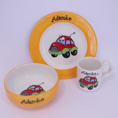 Hrnček, miska a tanier - auto