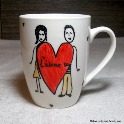 porcelánový hrnček Ľúbime sa