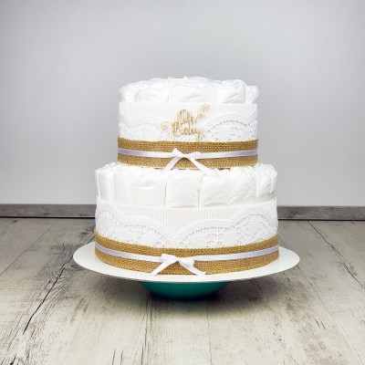 Plienková torta biela dvojposchodová