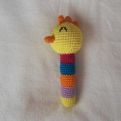 Háčkovaná hrkálka - žlté kuriatko