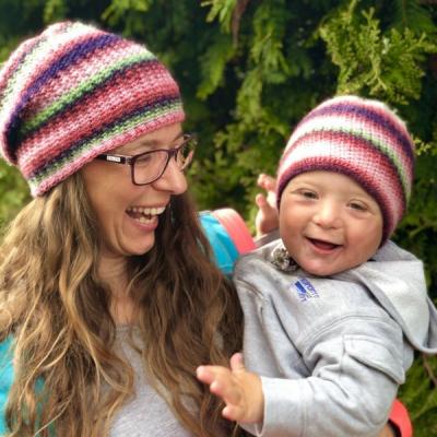 Obojstranná čiapka Perla - Set Mama a jej Dieťatko