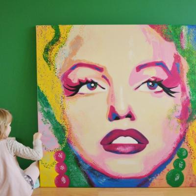 Maľovaný obraz, rozmer 120 x 120 cm.
