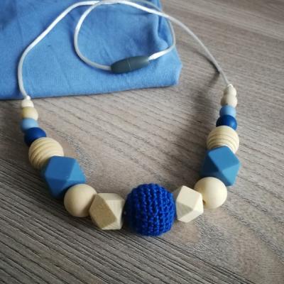 Dojčenský náhrdelník (kojonáhrdelník) modrý