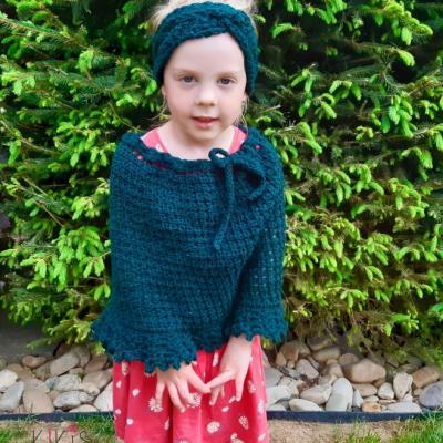Set detské poncho a čelenka - Tuniský smaragd