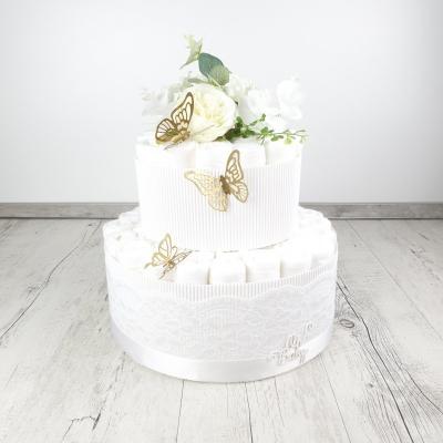 Plienková torta motýľkovo biela / zlatá