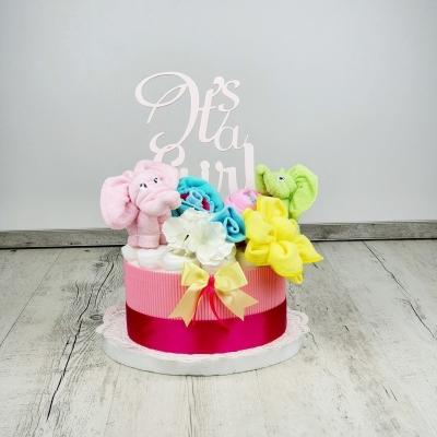Plienková torta sloníky a kvietky ružová