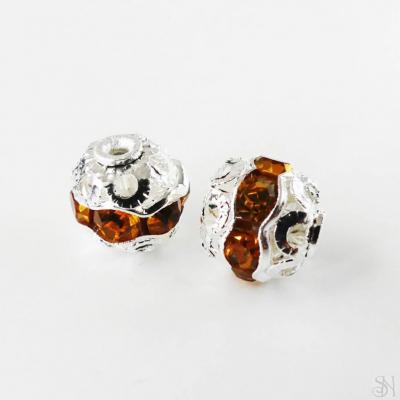 Kovové korálky s topásovými zirkónmi 8 mm