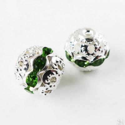 Kovové korálky so zelenými zirkónmi 10 mm