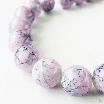 Ružové sklenené korálky 12 mm - 1 ks