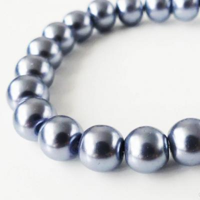 Sklenené voskované perly sivé 8 mm - 10 ks