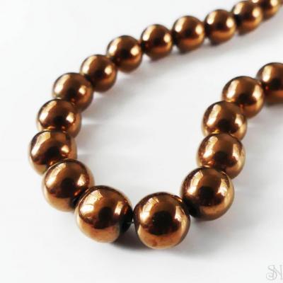 Korálky hematit 8 mm bronzové - 1 ks