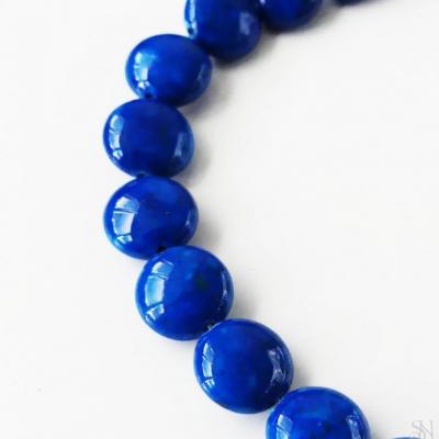 Modré lazúrové mramorové korálky 8x4 mm - 1 ks