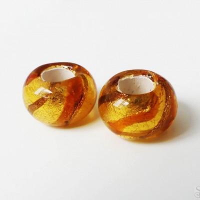 Sklenené korálky vinuté medové 15 mm - 1 ks