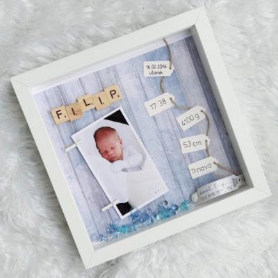 Shadowbox - Newborn modrý CHLAPČEK s údajmi o narodení