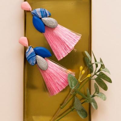Strapcové náušnice - modrá a ružová