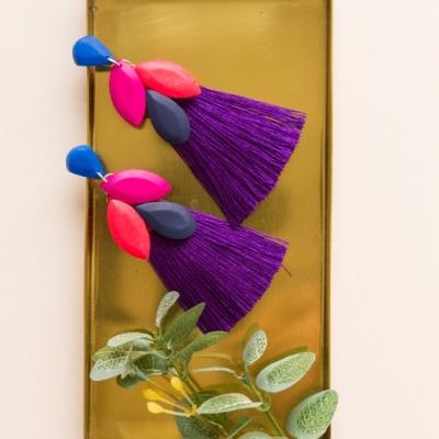 Strapcové náušnice - fialová a magenta