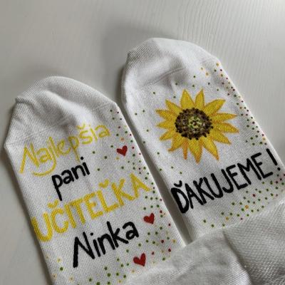 Maľované ponožky pre najlepšiu pani učiteľku so slnečnicou ❤️