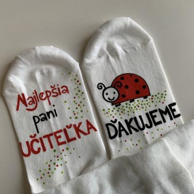 Maľované ponožky pre najlepšiu pani učiteľku lienok ❤️