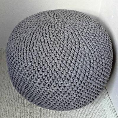 Háčkovaný PUF tmavošedý bavlna 50-55cm