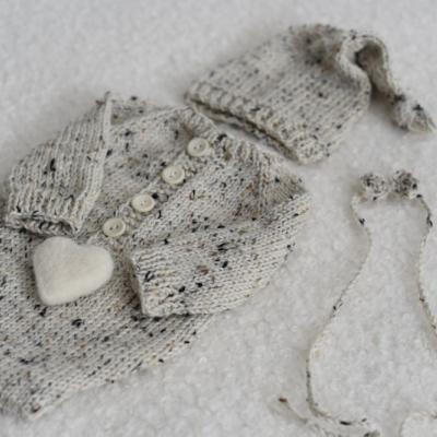 Set na fotenie novorodencov - body, čiapočka, čelenka