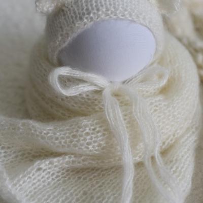 Newborn mohérový set na fotenie - wrap a čiapočka s uškami