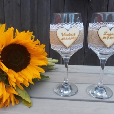 Svadobné poháre + partnerské kľúčenky