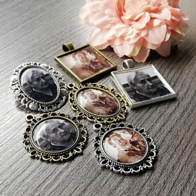 Brošňa, medailón na svadobnú kyticu alebo pierko s fotkou vašich blízkych