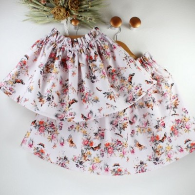 Dámska suknička - KVETY A MOTÝLE