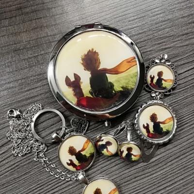 Bižutérny darčekový set zrkadielko, náušnice, prívesok, kľúčenka