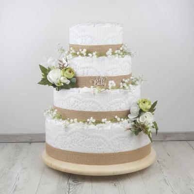 Plienková torta biela štvorposchodová