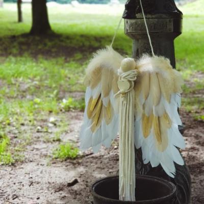 Macrame Anjel zlatý 35cm x 45cm