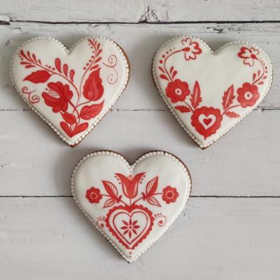 Perníkové srdce maľované folklórne 10,5 cm