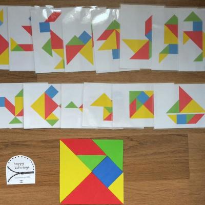 Tangram so 14 podkladovými kartami
