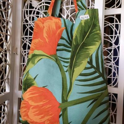 Letná tyrkysovo - oranžovo taška