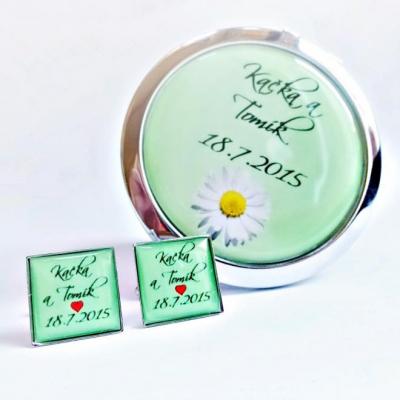 zrkadielko + manžetové gombíky na želanie