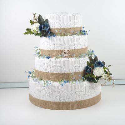 Plienková torta bielomodrá štvorposchodová