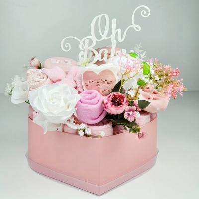 Plienková torta-box ružové srdiečko