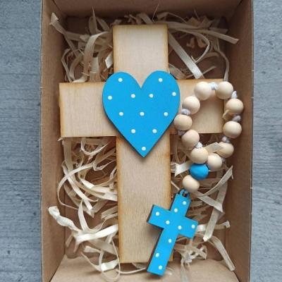 Set krížik a ruženec - modrá