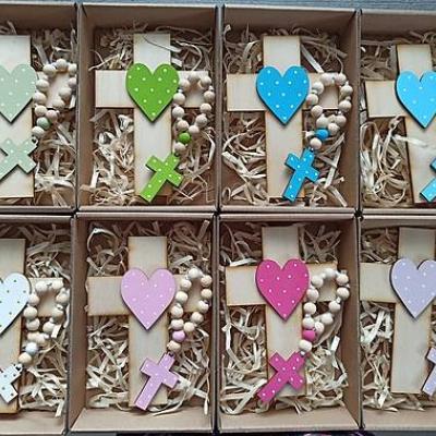 Set krížik a ruženec - biela