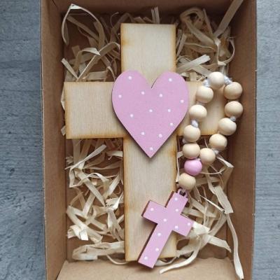 Set krížik a ruženec - ružová