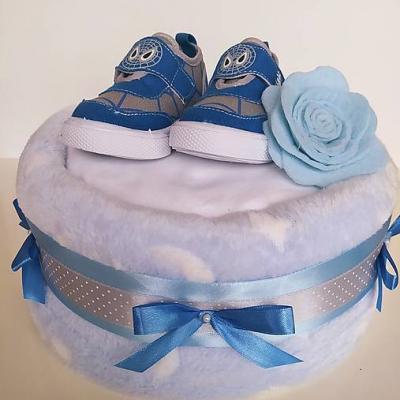 Plienková torta - modré papučky